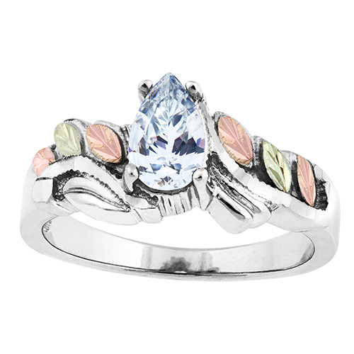 Cubic Zirconia Black Hills Silver  Ring