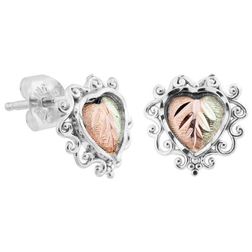 Heart Black Hills Silver Earrings