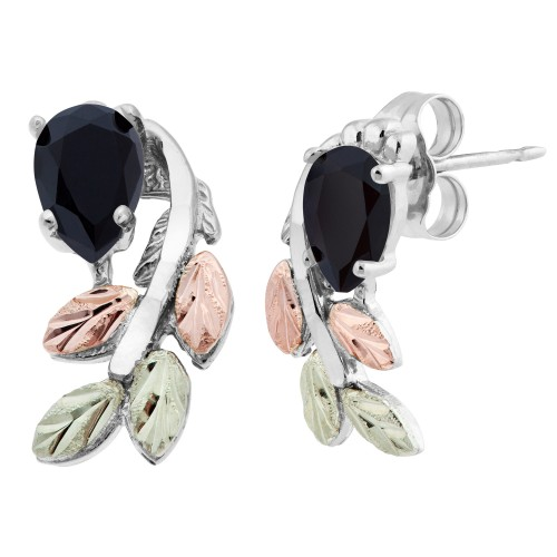 Pear Shaped Onyx Black Hills Silver Earrings