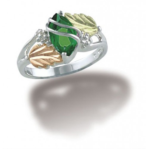 May Birthstone Ring in Sterling Silver