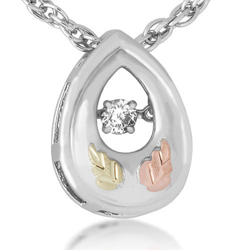 Black Hills Gold on  Silver Diamond Pendant with .01 ct Center diamond