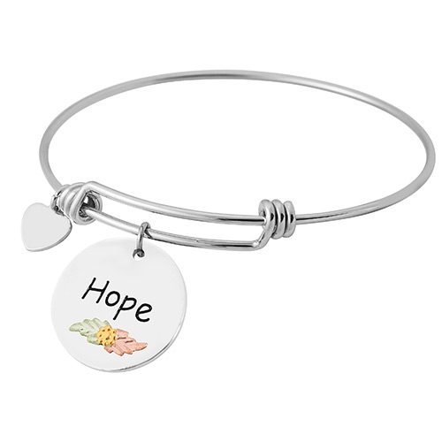 Black Hills Gold Sterling Silver Wire Bracelets with Hope Charm