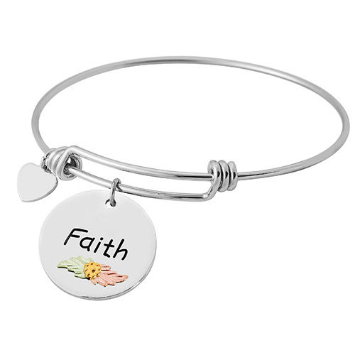 Black Hills Gold Sterling Silver Wire Bracelets with Faith Charm