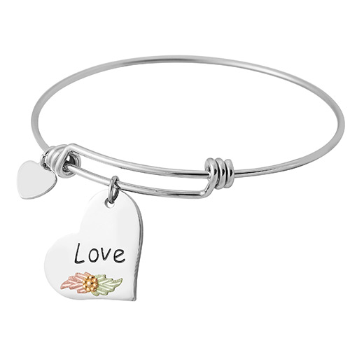 Black Hills Gold Sterling Silver Wire Bracelets with Love Charm