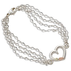 Black Hills Four Chain with Heart Bracelets