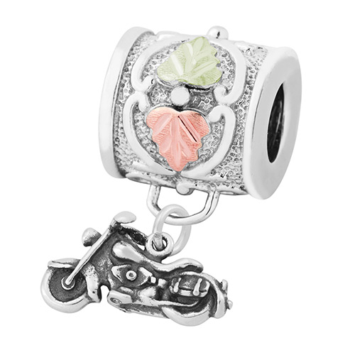 Black Hills Motorcycle Charm Bead in Sterling Silver