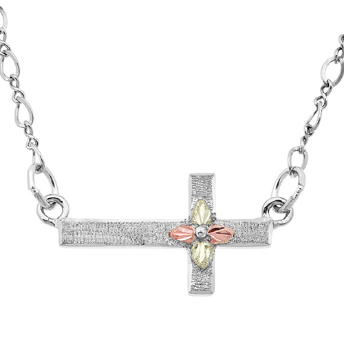 Sideways Cross Silver Necklace