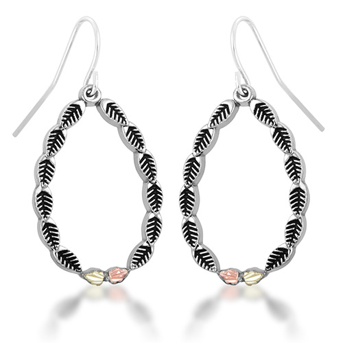 Antiqued Oval Shaped Black Hills Silver Earrings