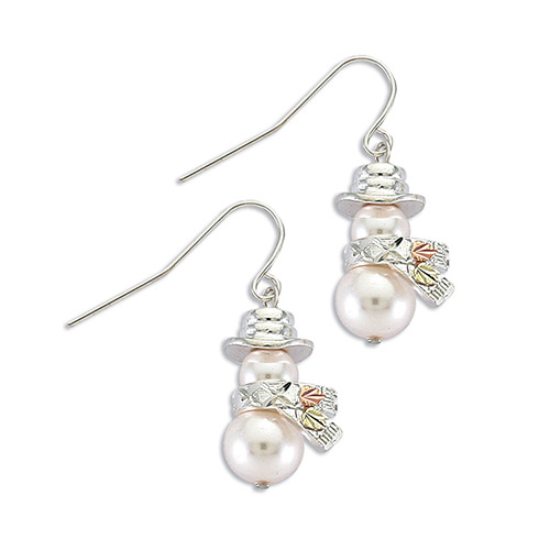 Silver Snowman Earrings with Pearl
