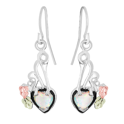 Dangling Opal Heart Earrings
