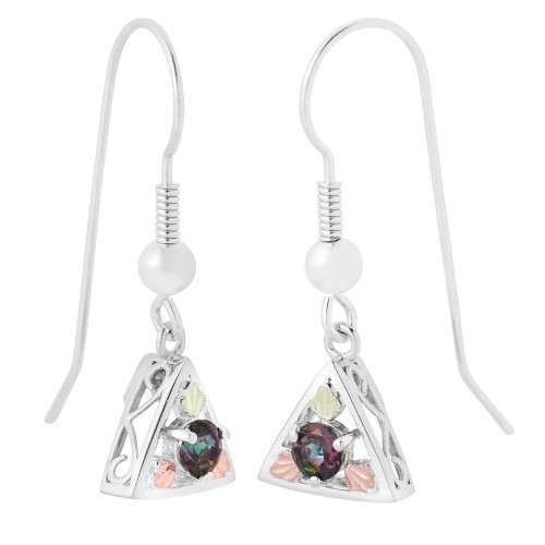 Mystic Fire Silver Earrings with Shepherd Hook Bac...