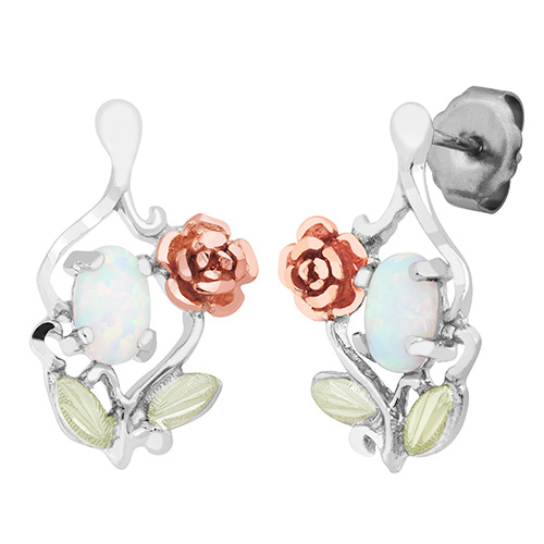 Silver Opal Rose Earrings