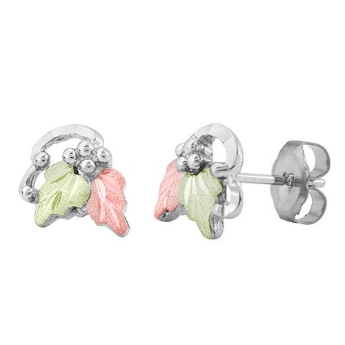 Silver Stud Earrings with Leaves