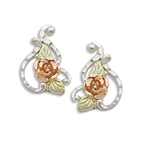 Rose Flower Silver Earrings