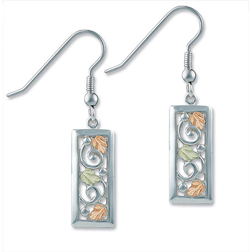 Black Hills Gold Rectangle Earrings in Sterling Si...