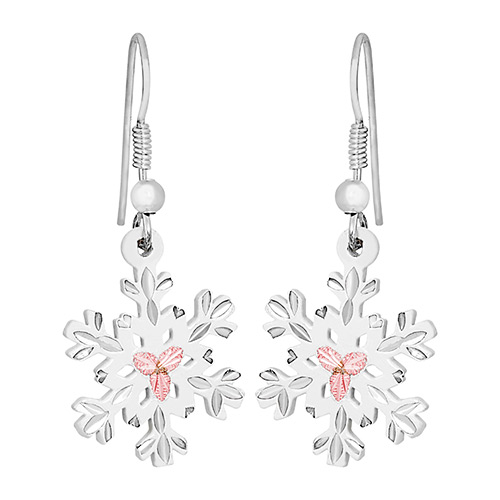 Landstroms White Powder Coat Snow Flake Earrings i...