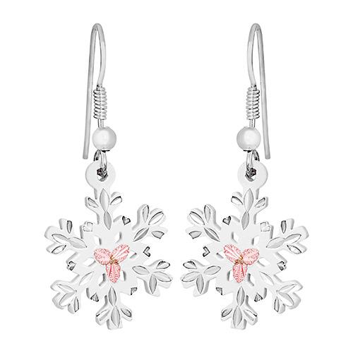 Landstroms White Powder Coat Snow Flake Earrings in Sterling Silver