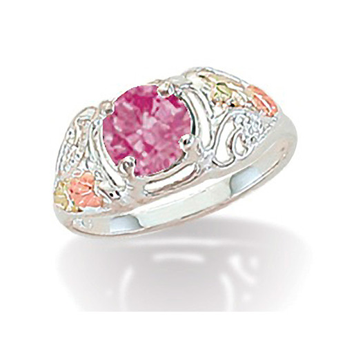 Silver Pink Cubic Zirconia Ring