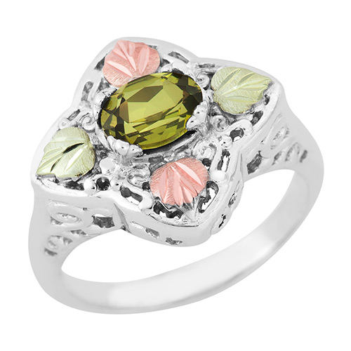 Genuine Peridot 7 X 5 MM Black Hills Silver Ring