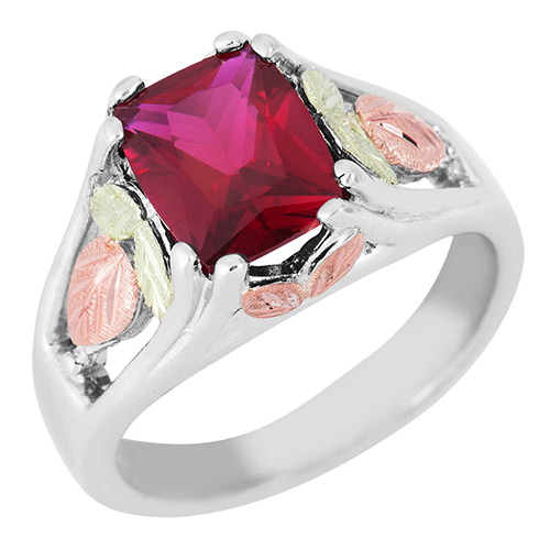 Synthetic Garnet Black Hills Silver Ring