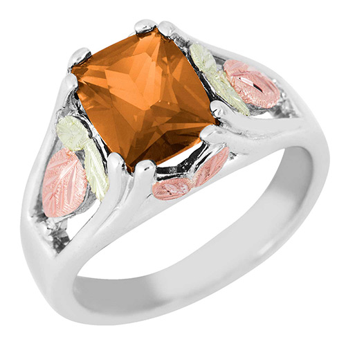 Gold Topaz Black Hills Silver Ring