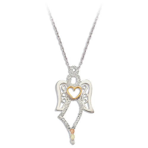 Silver Angel Pendant with 10k Heart