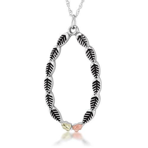 Landstroms Black Hills Silver Antiqued Oval Shaped Pendant Necklace