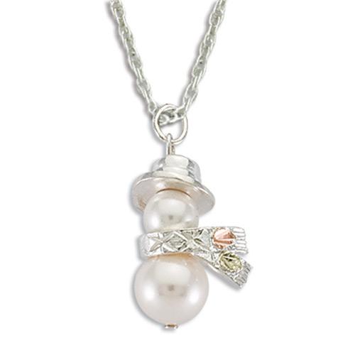 Snowman Pearl Pendant Necklace