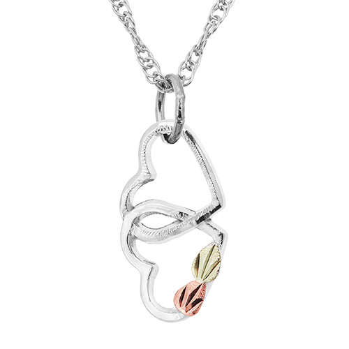 Double Heart Interlocking Pendant Necklace - MRLPE3101