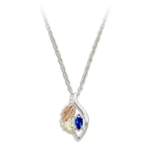 Blue Spinel Black Hills Gold on Silver Necklace - ...