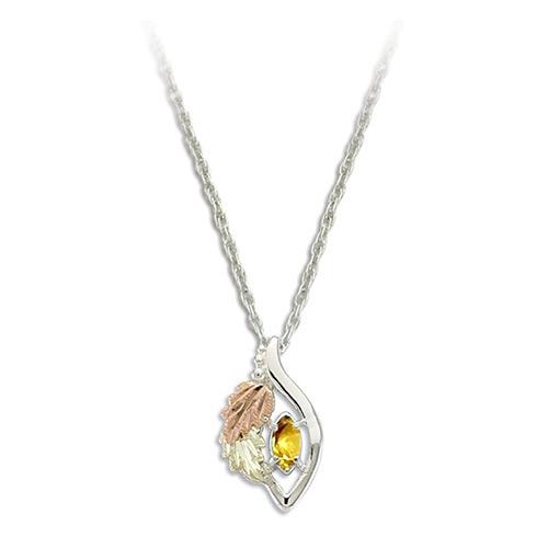 Gold Topaz Black Hills Gold on Silver Necklace - N...