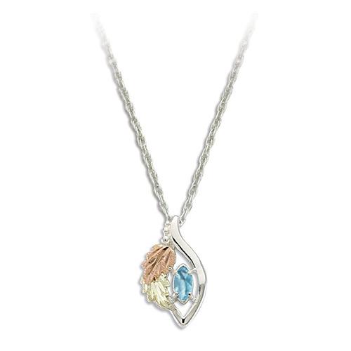Blue Zircon Black Hills Gold on Silver Necklace - ...