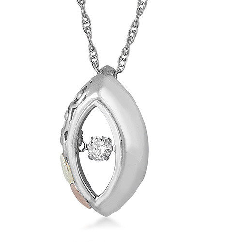 Black Hills Gold on Silver Diamond Pendant from La...