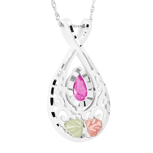 Black Hills Gold Pink Cubic Zirconia Pendant in St...