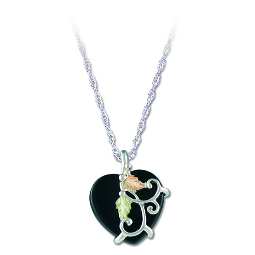Landstroms Black Hills Gold Heart Onyx Pendant
