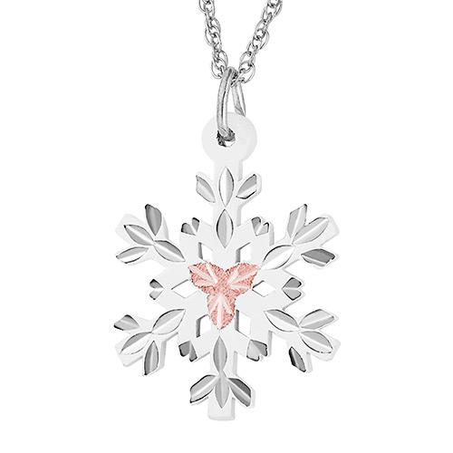 White Powder Coat Snow Flake Pendant Necklace
