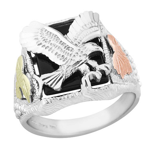 Sterling Silver Onyx Eagle Ring