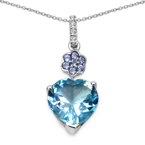 Heart Shaped Blue Topaz and Tanzanite Silver Penda...