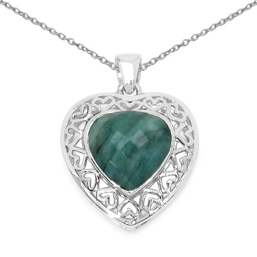 Heart Shaped Checker Board Cut Natural Emerald Pen...