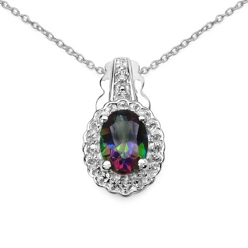 Oval 7x5mm Mystic Topaz Pendant with 5pcs of Round...