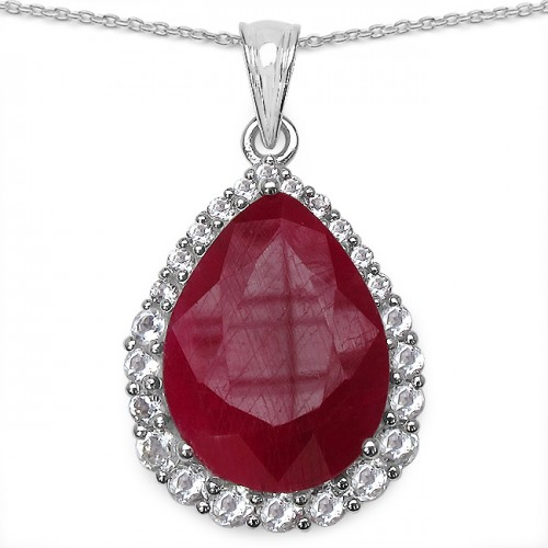 Synthetic Ruby and White Topaz Pendant Necklace i...