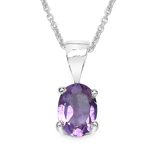 7x5mm Oval Brazil Amethyst Pendant in 925 Sterling...
