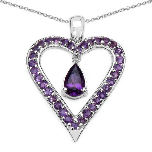 Natural Amethyst Heart Shaped Pendant Necklace in ...