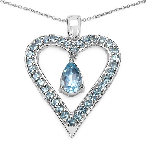 Natural Blue Topaz Heart Sterling Silver Pendant