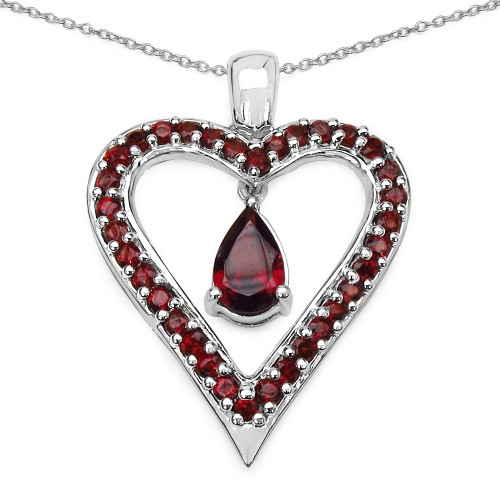 Natural Garnet Heart Sterling Silver Pendant