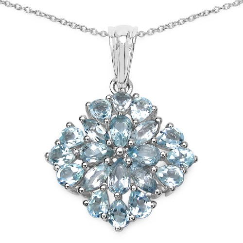 Natural Blue Topaz Heart Shaped Pendant in 92.5 St...
