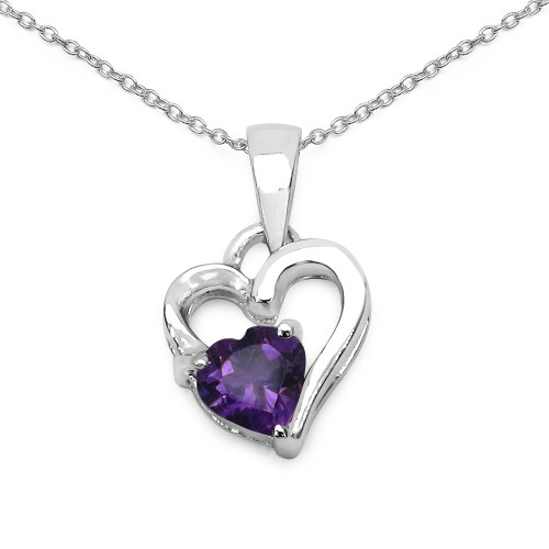 Double Heart Genuine Amethyst Pendant Necklace in ...