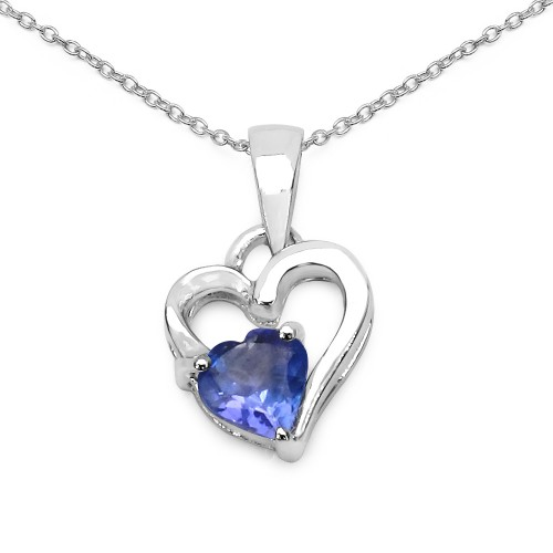 Double Heart Genuine Tanzanite Pendant in 925 Ster...