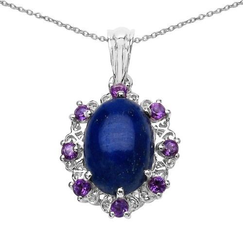 Lapis Cabachon and African Amethyst Silver Pendant
