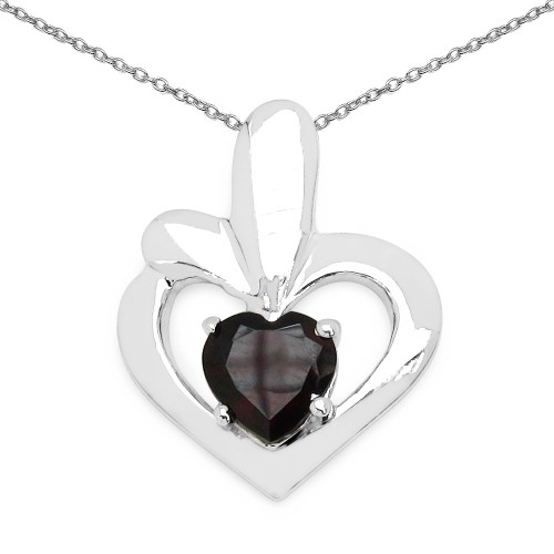 925 Sterling Silver Genuine 7 MM Garnet Heart Pend...